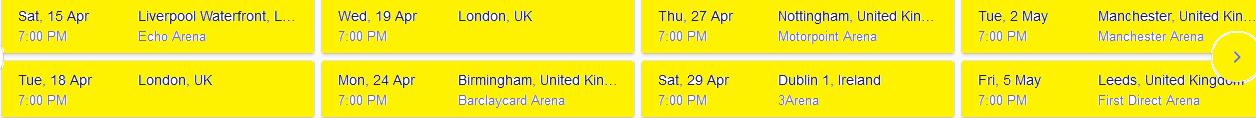 schedule of Mars concert